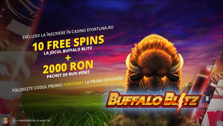 eFortuna Oferă 10 Rotiri Gratuite Noilor Jucători pentru Buffalo Blitz