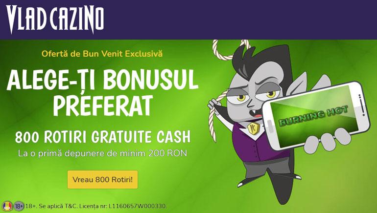 Vlad Cazino te Premiază cu Până la 800 de Rotiri Gratuite